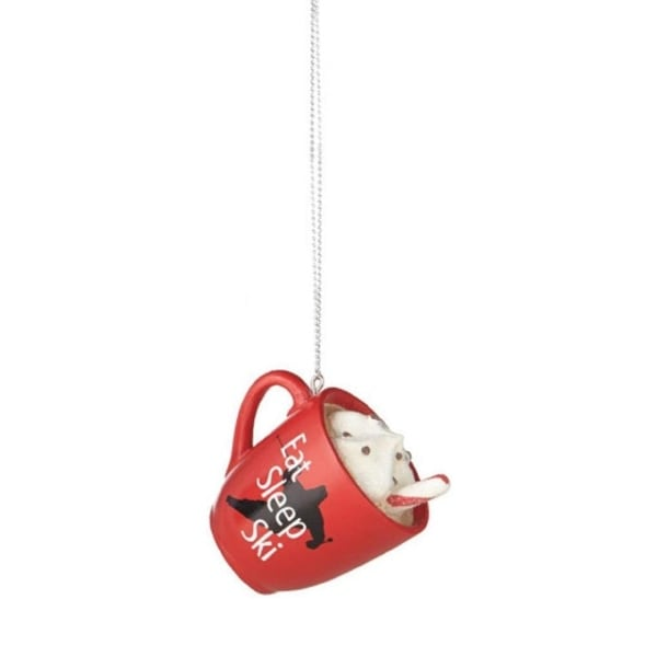 "2.75"" Hot Cocoa in Red Mug ""EAT SLEEP SKI"" Saying Christmas Ornament"