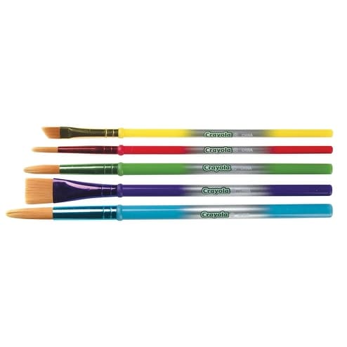 Crayola Round Synthetic Paint Brush Set Set of 5 Assorted Size Assorted Color