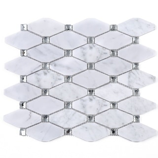 Link to TileGen. Long Diamond Shape Cyrstal Marble Mosaic Tile in White Carrara Floor and Wall Tile (10 sheets/11sqft.) Similar Items in Tile