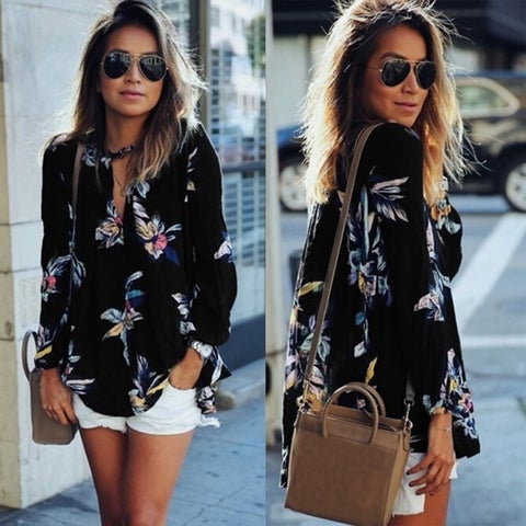 Fashion Women Casual Print Hollow Out V neck Long Sleeve Chiffon Shirt Blouse Top
