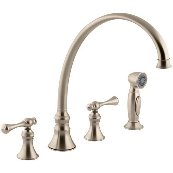 Marvelous Kohler K 16111 4A Revival High Arch Gooseneck Kitchen Faucet With  Traditional Lever Handles