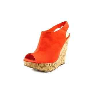 Carlos by Carlos Santana Maui Women Open Toe Canvas Orange Wedge Heel