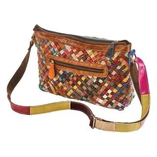 AmeriLeather Women's Woven Leather Crossbody Handbag - Basketweave Design Purse - One size