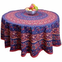 "Handmade 100% Cotton Elephant Mandala Floral 81"" Round Tablecloth Blue Red"