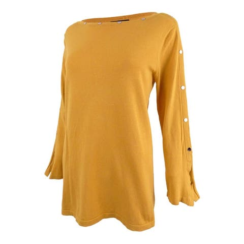 Alfani Womens Sweater Gold Size Medium M Jewel Neck Embellished Knit