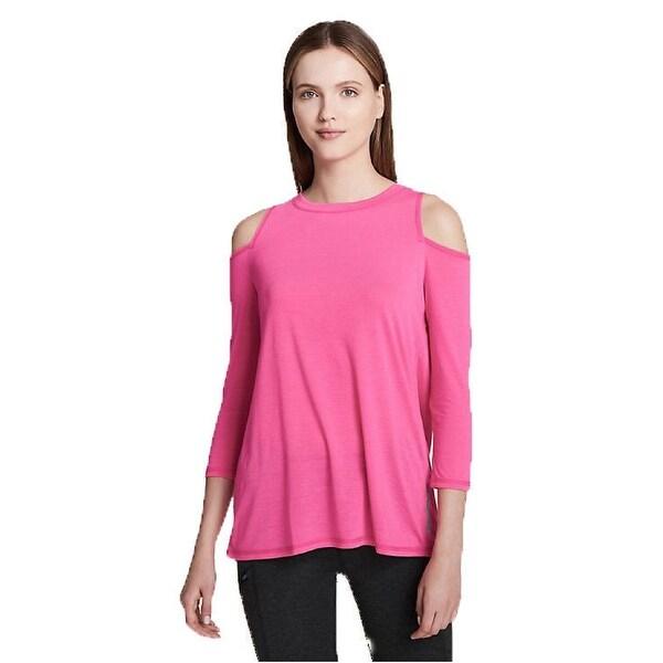 be6185ad4e842 Calvin Klein Performance Split-Back Women  x27 s Cold-Shoulder Top Pink