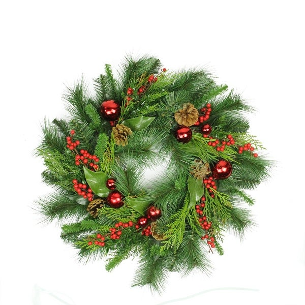 """24"""" Mixed Hampton Pine Cone, Berry and Red Ball Ornament Artificial Christmas Wreath - Unlit - green"""