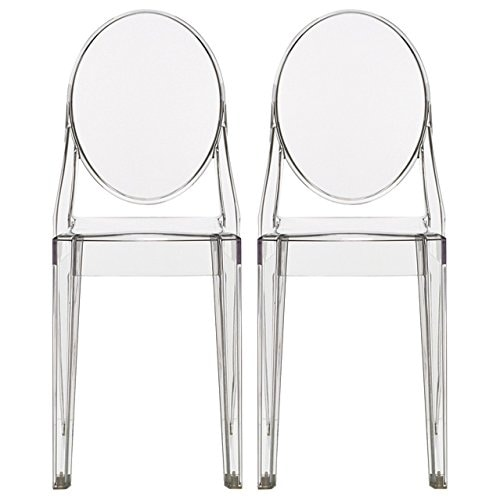 2xhome - Set of Two (2) - Clear - Victorian Transparent Chair Clear Side Chair Armless
