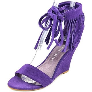 Chinese Laundry Sunie Women Open Toe Suede Purple Wedge Sandal