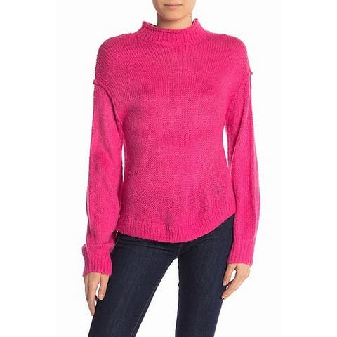 Abound Hot Pink Womens Size XL Mock Neck Knit Stretch Sweater