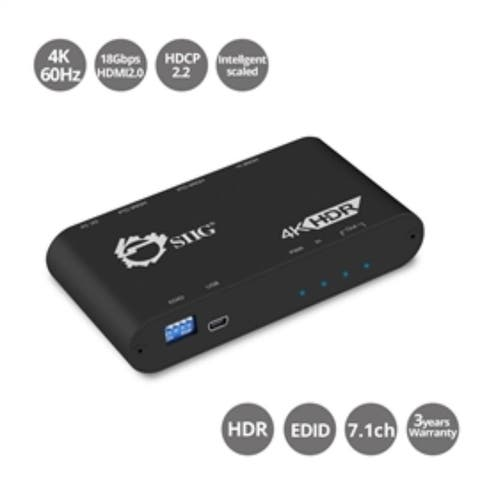 SIIG Accessory CE-H22X11-S1 HDMI Distribution Amplifier with Auto Video Scaling 4K 60Hz HDR Brown Box