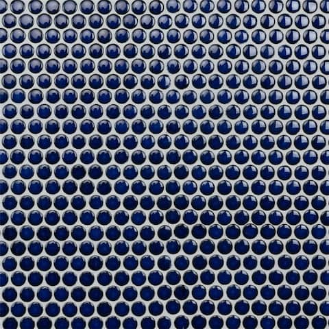 SomerTile 12x12.625-inch Penny Blue Eye Porcelain Mosaic Floor and Wall Tile