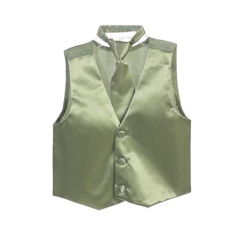 Boys Sage Three Button Satin Vest Tie 2 Pc Set