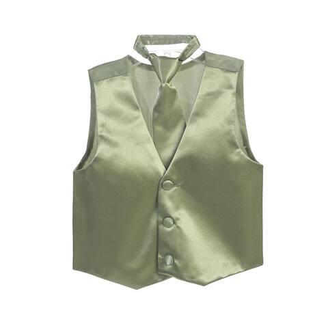 Little Boys Sage Three Button Satin Vest Tie 2 Pc Set
