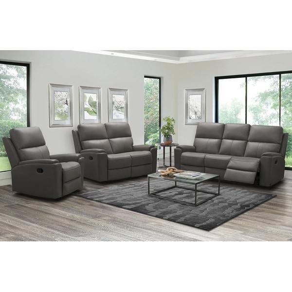 Abbyson Jackson Top Grain Leather Manual Reclining Sofa Set. Opens flyout.