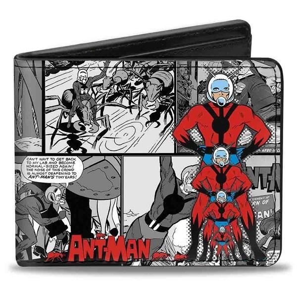 Marvel Comics Ant Man Shrinking Pose Comic Scene Blacks Grays Black White Bi-Fold Wallet - One Size Fits most