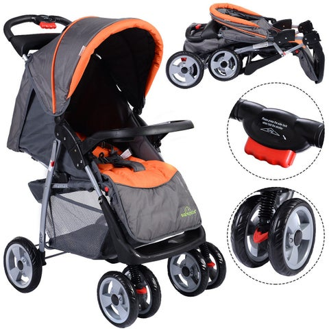 Costway Foldable Baby Kids Travel Stroller Newborn Infant Buggy Pushchair Child Gray