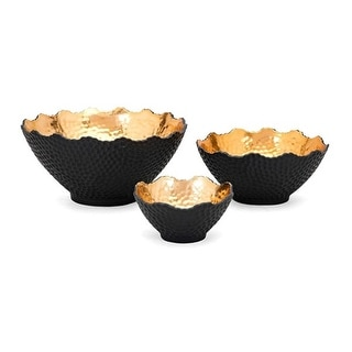 Set of 3 Gold and Matte Charcoal Black Nova Decorative Ceramic Bowls - N/A