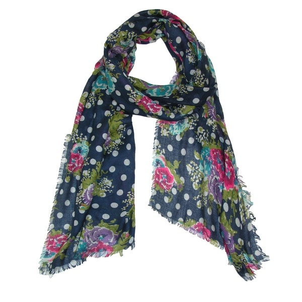 CTM® Women's Floral and Polka Dot Print Scarf - One size