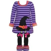Bonnie Jean Little Girls Purple Stripe Witch Hat Halloween 2 Pc Pant Set