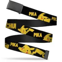 Blank Black  Buckle Pikachu Attack Poses Pika Chu! Black Yellow Web Belt