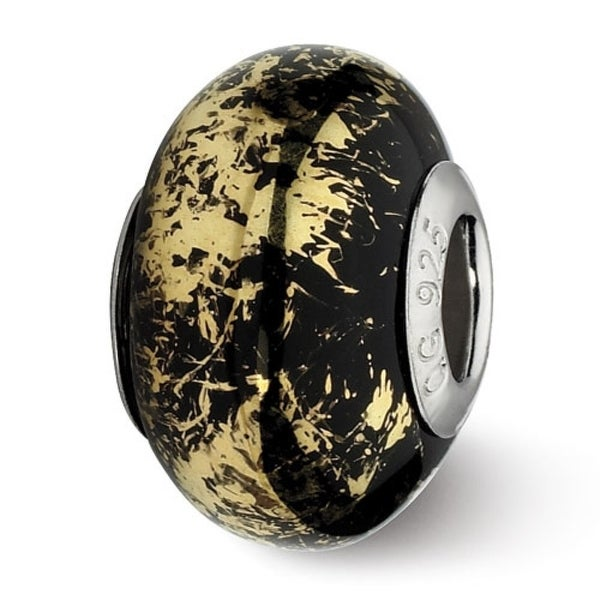 Italian Sterling Silver Reflections Black with Gold Foil Ceramic Bead (4mm Diameter Hole)