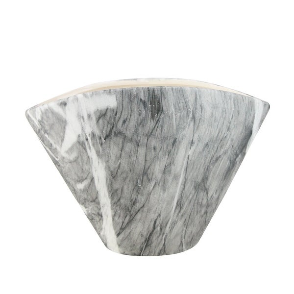 "5"" Gray Faux Marble Finish Contemporary Tapered Planter - N/A"