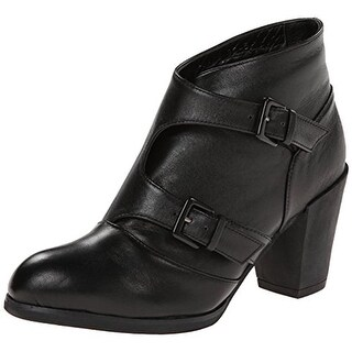 All Black Womens Twin Double Ankle Boots Leather Buckle - 36.5 medium (b,m)