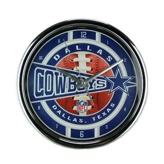 NFL Dallas Cowboys Wall Clock Chrome Finished Frame - Blue