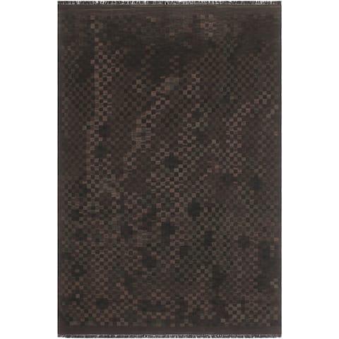 "Shabby Chic Kilim Lulu Black Brown Wool Rug - 5'7"" x 7'8"" - 5'7"" x 7'8"""