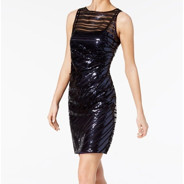 be7029408996c Shop Vince Camuto Navy Blue Womens Size 2 Sequin-Striped Sheath ...