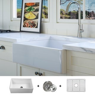 Luxury 26 inch Modern Fireclay Farmhouse Kitchen Sink, White, Single Bowl, Flat Front, includes Grid and Drain, by Fossil Blu