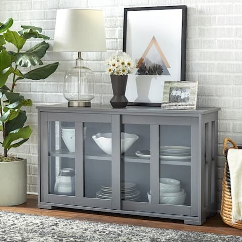 Porch & Den Jefferson Glass Sliding Door Stackable Cabinet