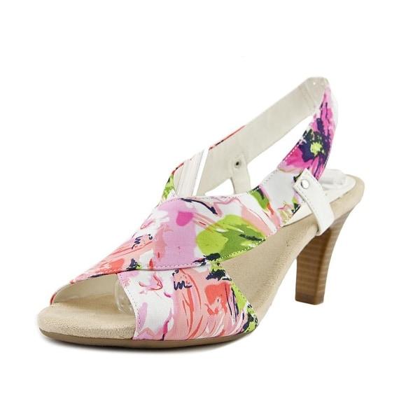 A2 By Aerosoles Rotmail Women Peep-Toe Canvas White Slingback Heel
