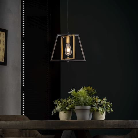 1-Light Farmhouse Pendant Ceiling Light Fixtures with Black and Brass Metal Frame - 12.6 in.