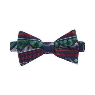 Celebrate Shop Fair Isle Reindeer Navy Blue Pre-Tied Butterfly Bow Tie