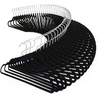 Costway 100PCS Velvet Clothes Suit/ Shirt/ Pants Hangers Hook Non Slip Storage Organize - Black