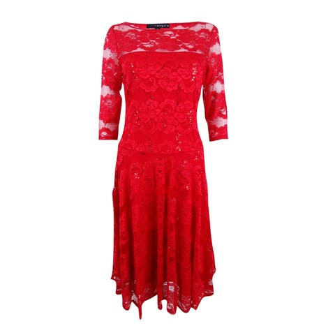 Sangria Women's Lace Fit & Flare Dress (6, Red) - Red - 6