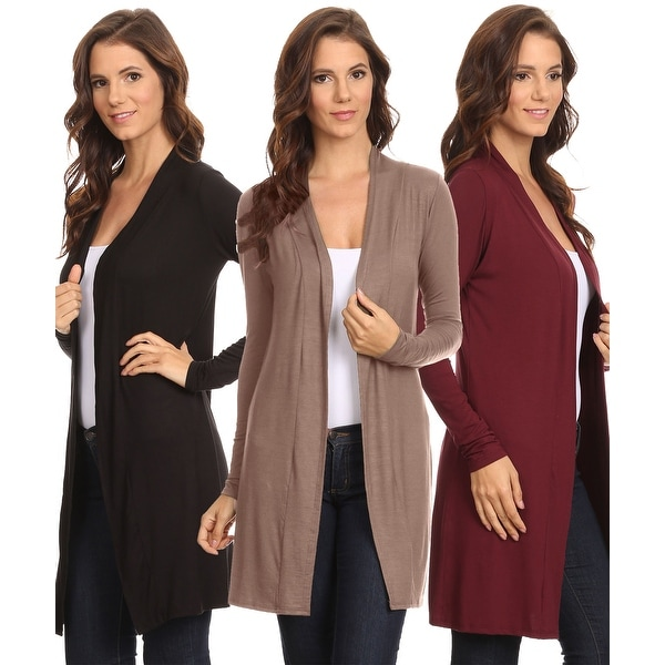 Sharon's Outlet 3 Pack Women's Long Cardigan Open Front Small to 3XL Made in USA: BLACK/MOCHA/BURGUNDY