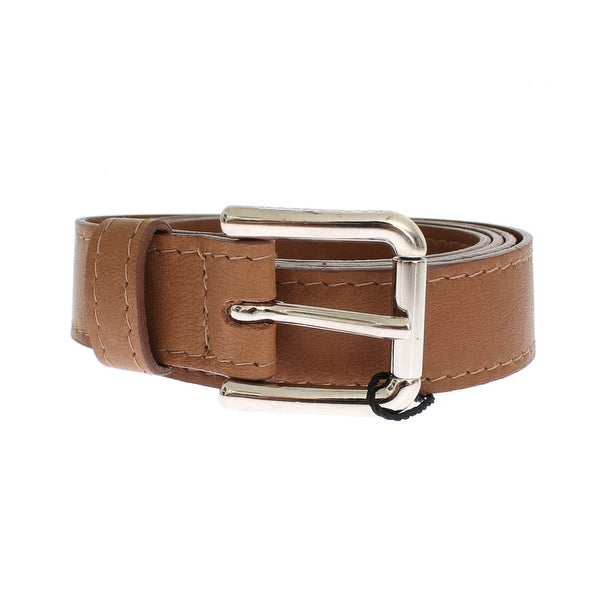 Dolce & Gabbana Brown Leather Silver Buckle Logo Wide Belt