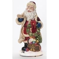 "14"" Fiber Optic Lighted Santa Claus with Gift Sack Christmas Figure - RED"