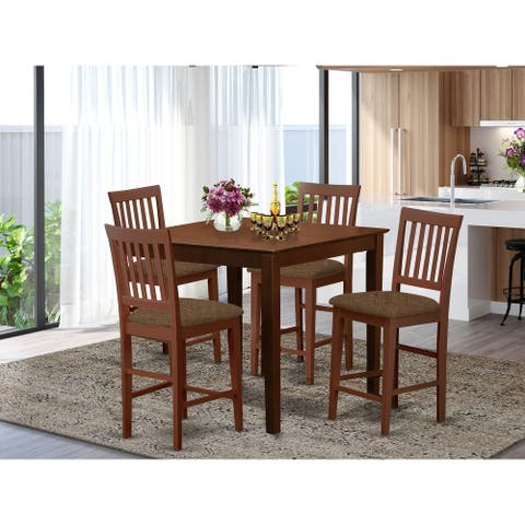 5-piece Dining Set Square Table and 4 Counter Height Chairs in Mahogany Finish