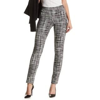 Amanda + Chelsea Black Ivory Womens 10 Stretch Abstract Dress Pants
