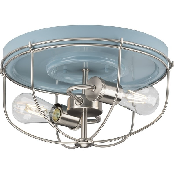 Medal Collection 2-Light Coastal Blue Industrial Flush Mount Ceiling Light - 14.5 in x 14.5 in x 7.88 in. Opens flyout.