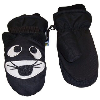 NICE CAPS Boys Cute Animal Faces Thinsulate Waterproof Mittens - tiger - black