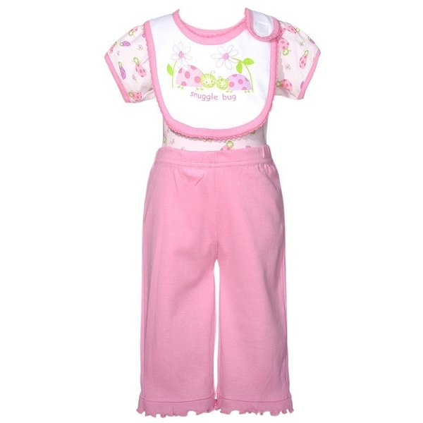 Mon Cheri Pink Lady Snuggle Bug 3 Pc Layette Bib Set Baby Girl 0-3M
