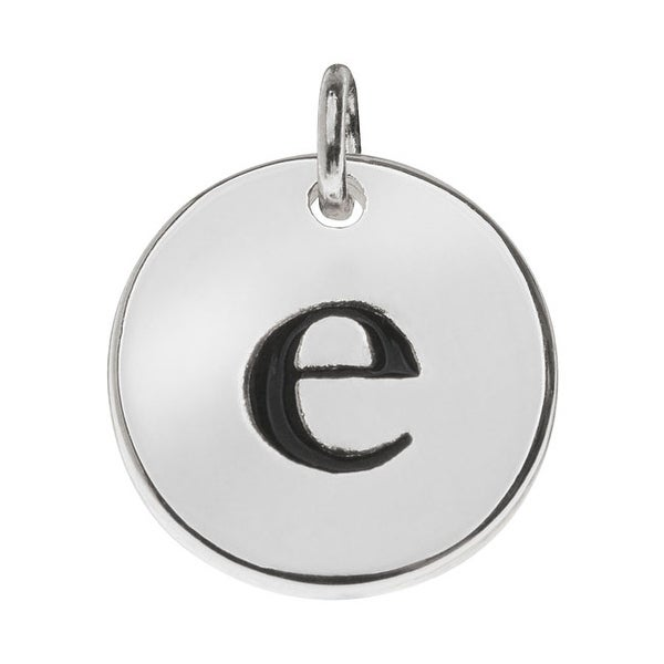 Lead-Free Pewter, Round Alphabet Charm Lowercase Letter 'e' 13mm, 1 Piece, Silver Plated