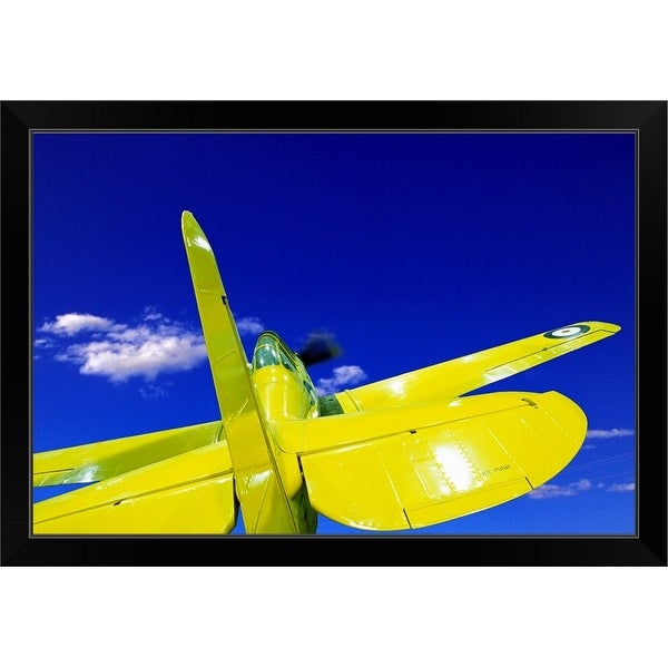 """Small yellow airplane"" Black Framed Print"