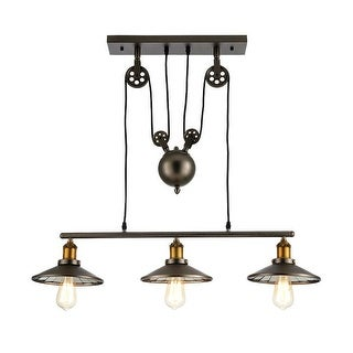 Vintage Barn Pendant Light Fixture 3 Lights Bulbs Included Metallic Grey Antique Brass