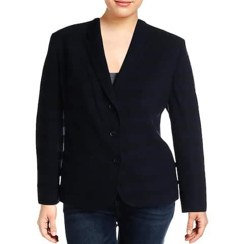 Basler Womens Plus Three-Button Blazer Office Wear Professional - Navy - 20